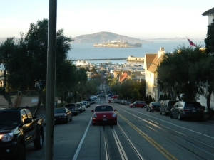 View of Alcatraz and the bay from the cable car